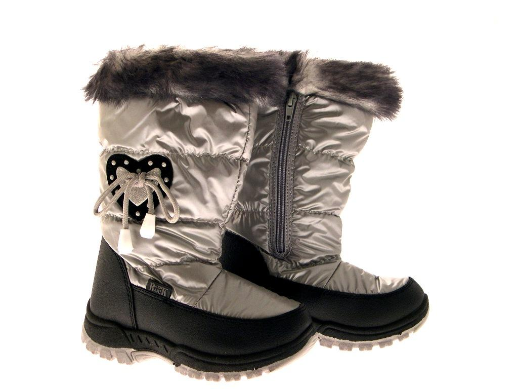 KIDS GIRLS SNOW BOOTS SKI JOGGER FUR CUFF MOON MUCKER LILAC SILVER HEARTS 12-2.5