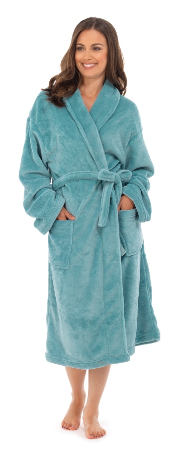 WOMENS FULL LENGTH FLEECE BATH ROBE DRESSING GOWN HOUSECOAT+ BELT ...