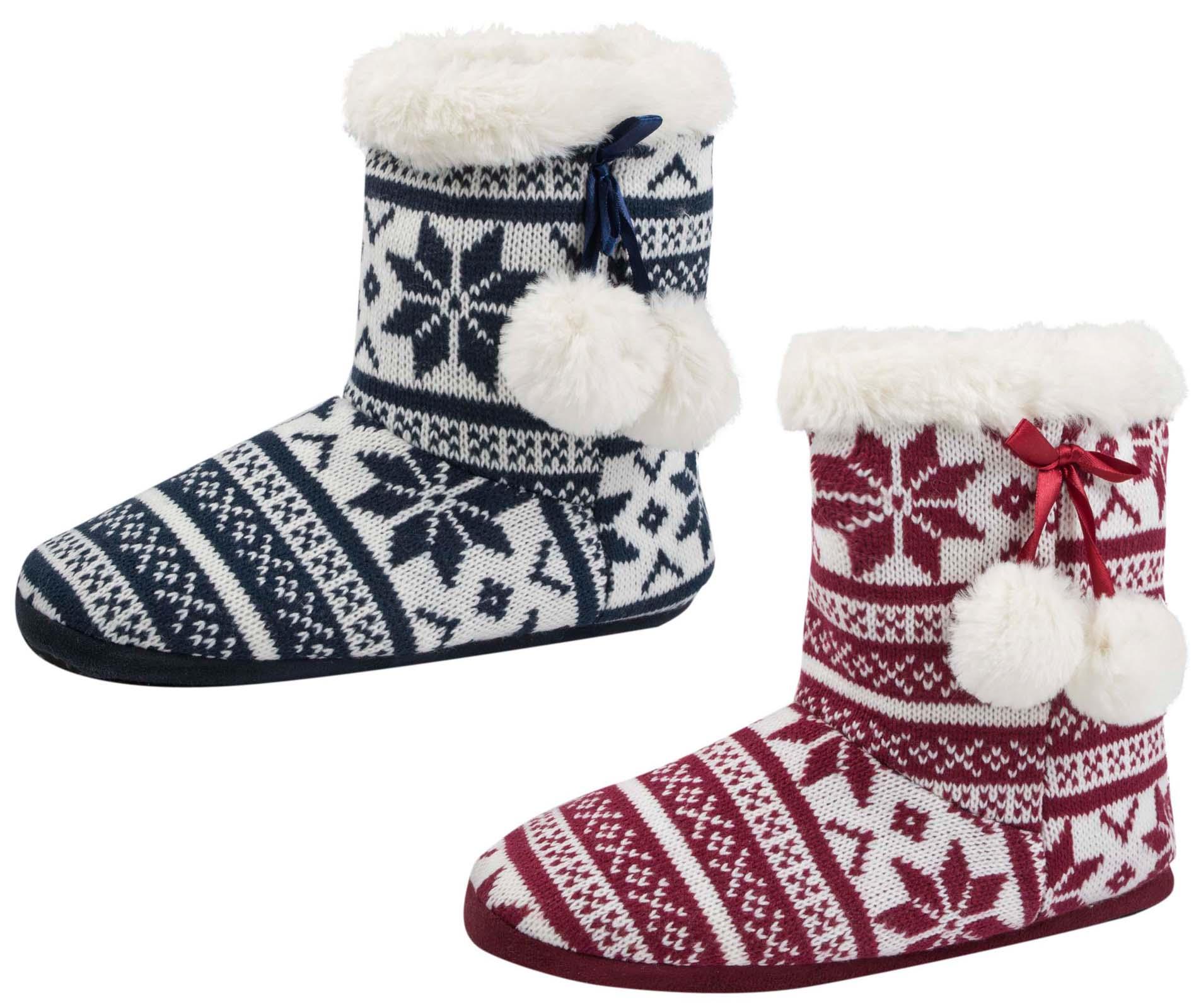 Womens Fairisle Slipper Boots Knitted