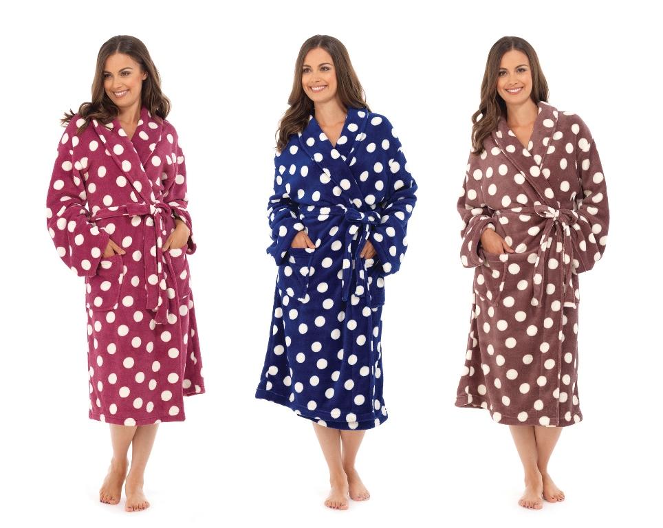 WOMENS FULL LENGTH FLEECE BATH ROBE DRESSING GOWN HOUSECOAT+ BELT ...