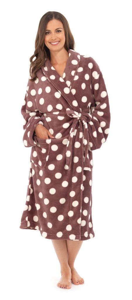 c8c4527588 WOMENS FULL LENGTH FLEECE BATH ROBE DRESSING GOWN HOUSECOAT+ BELT LADIES  S M- XL