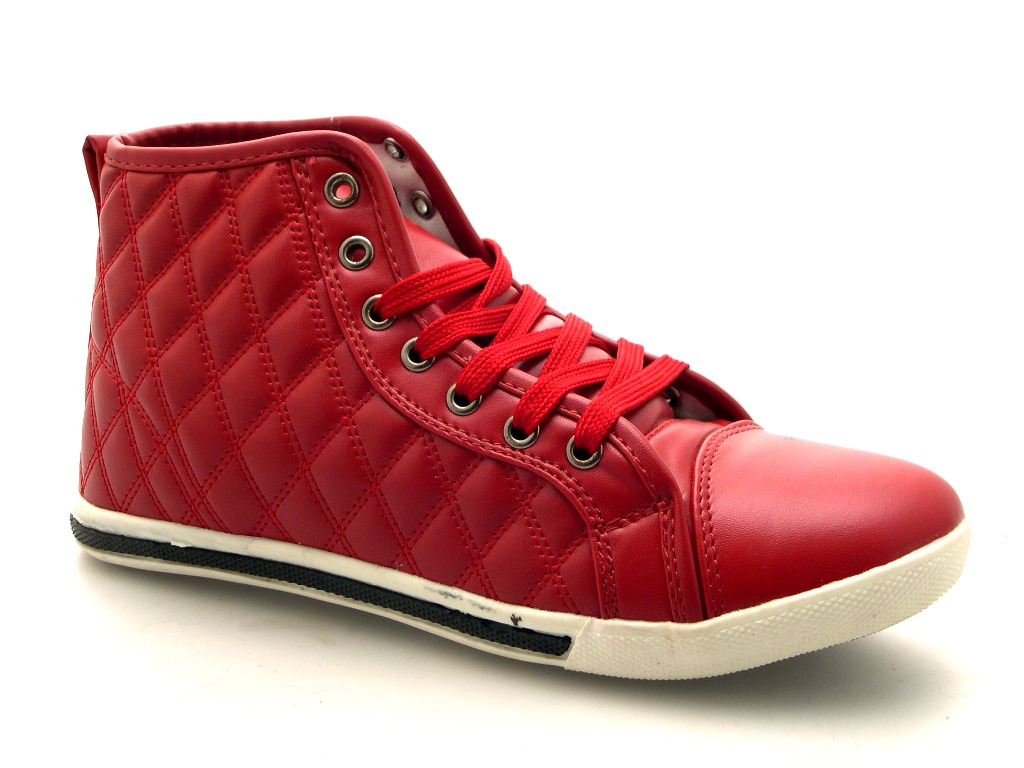 ecdb51c8a120 WOMENS QUILTED HI TOP LACES TRAINERS PUMPS ANKLE BOOTS PLIMSOLLS ...