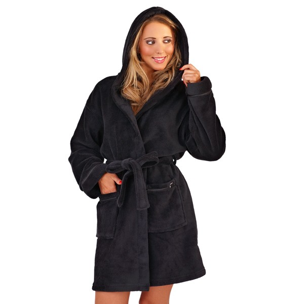 WOMENS HOODED HEARTS ZIPPED SHORT BATH ROBE DRESSING GOWN HOUSECOAT ...