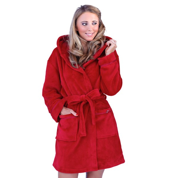 Womens Hooded Hearts Zipped Short Bath Robe Dressing Gown Housecoat