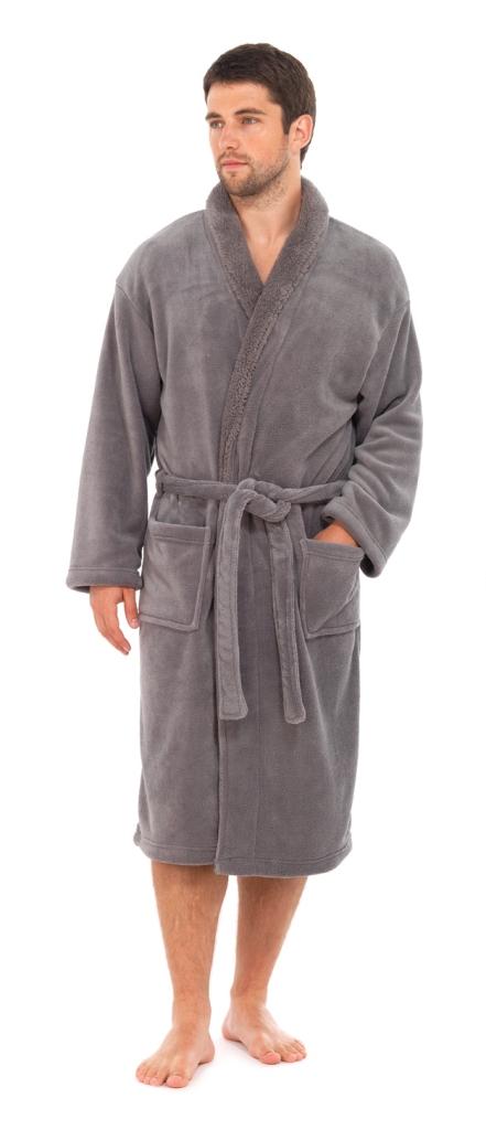 Mens Luxury Soft Fleece Bathrobe Dressing Gown Housecoat Warm Robe ...