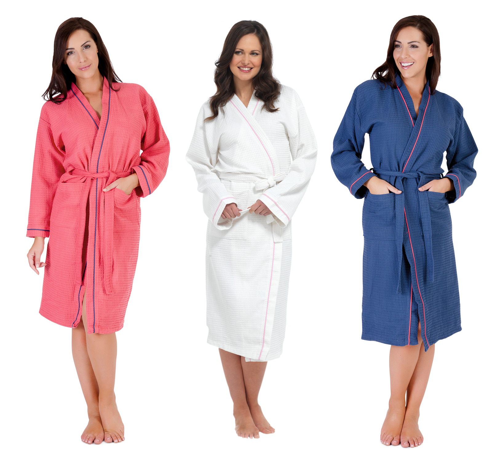 WOMENS 100% COTTON WAFFLE BATHROBE DRESSING GOWN BELT HOUSECOAT ...