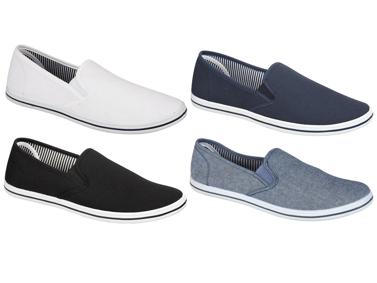 a07737d601c Mens Canvas Plimsolls Slip On Flat Pumps Trainers Casual Gym Shoes ...