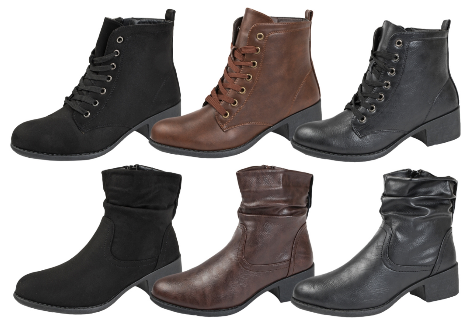 78cceee448cf Womens Comfort Low Heel Classic Ankle Boots Faux Leather Zip Or Lace Up  Shoes