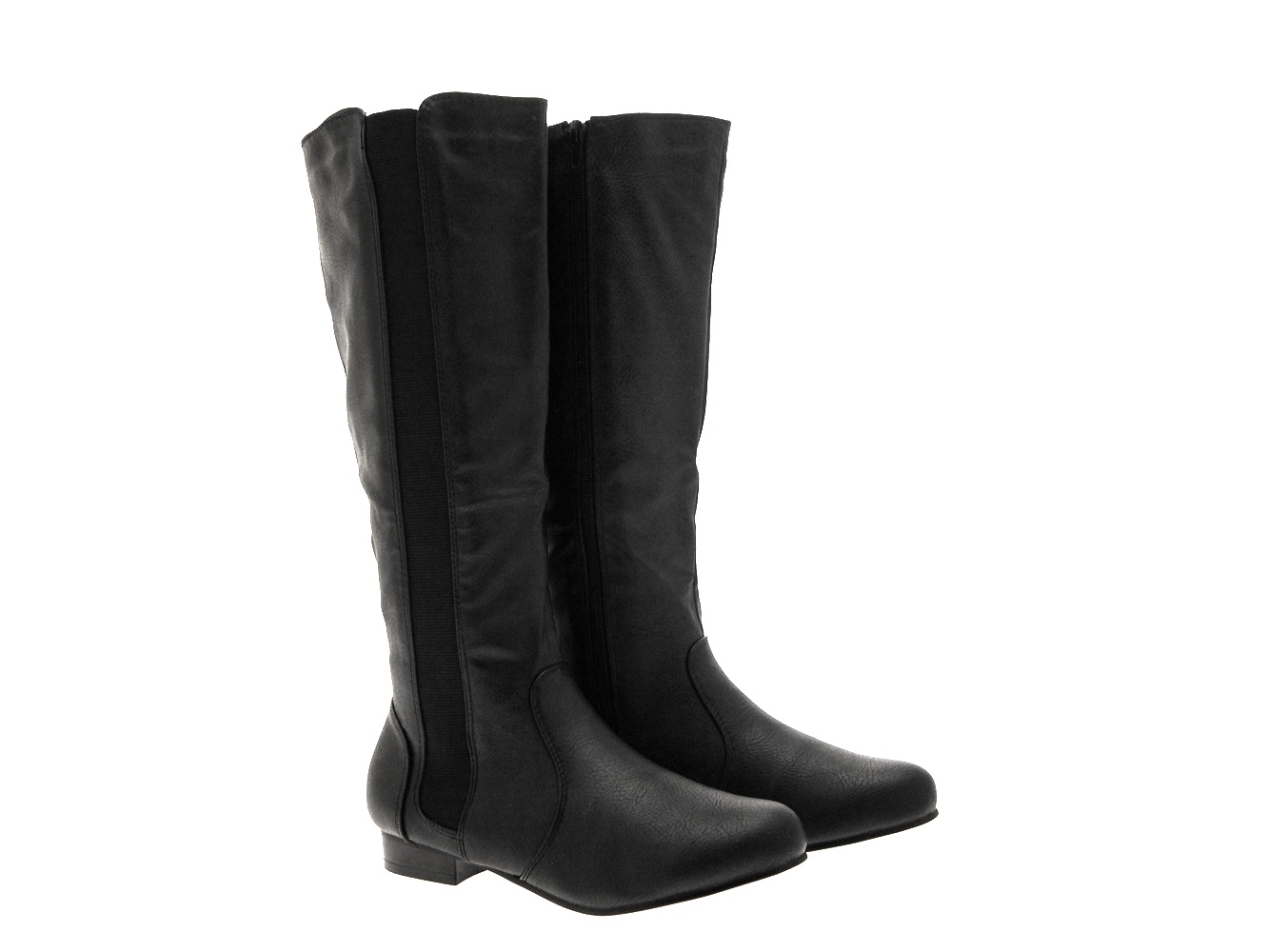 8fbdc1c18c0 WOMENS STRETCH WIDE CALF FLAT RIDING BOOTS KNEE HIGH BLACK LADIES ...
