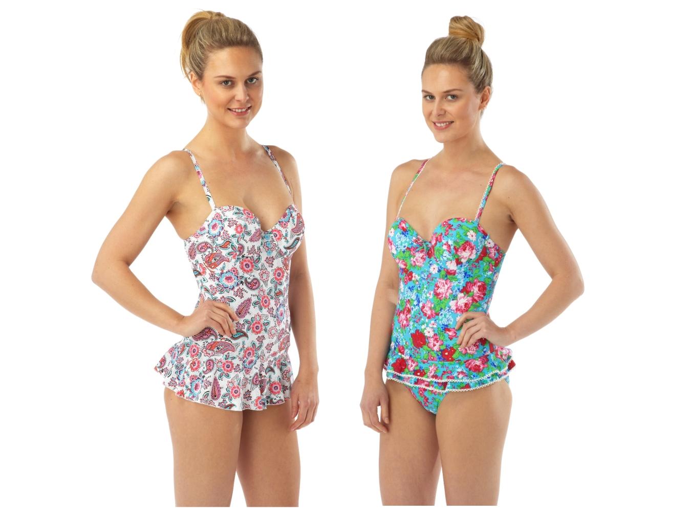 Half Price Womens Swimming Costume Dress Skirt Underwired Push Up