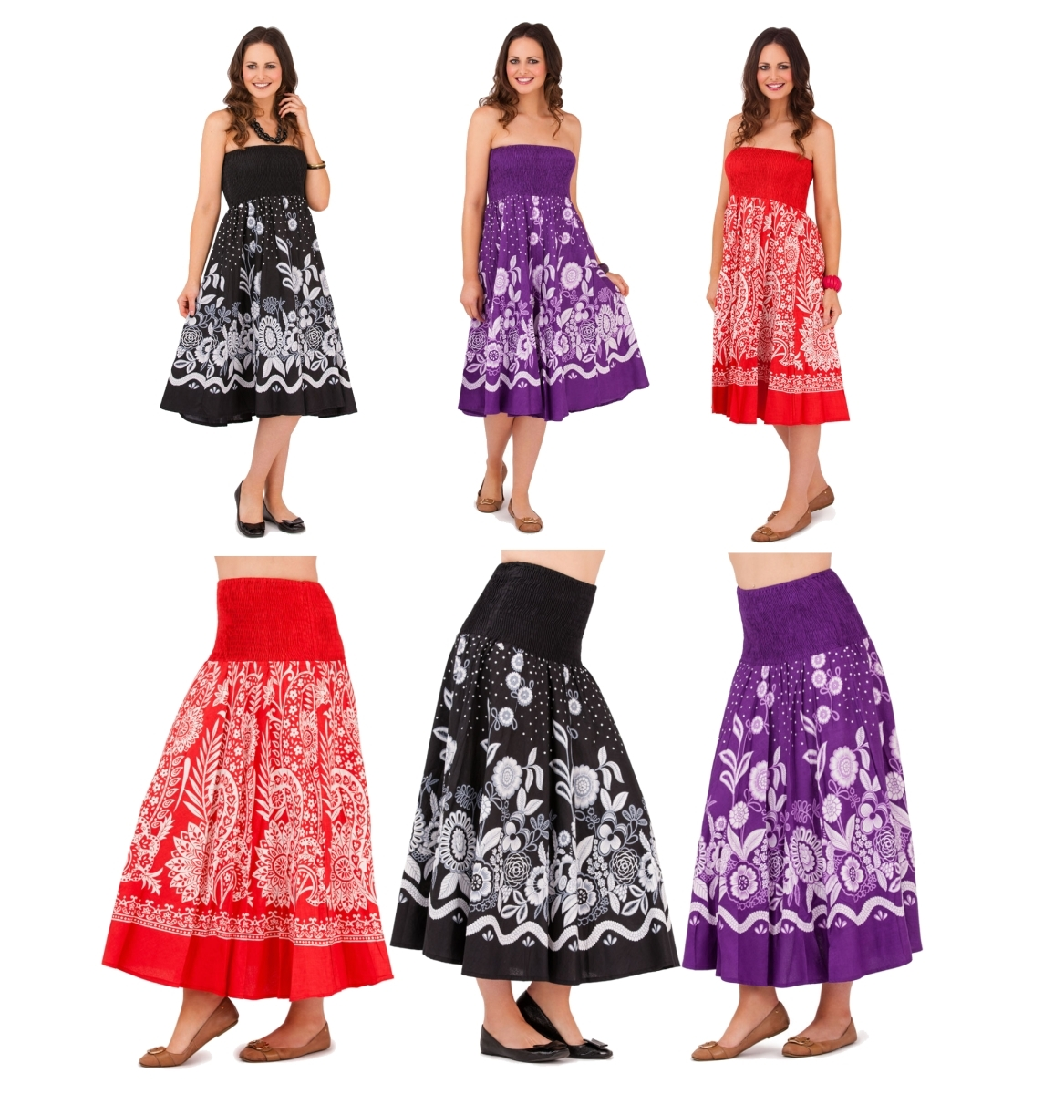 72dd5ca478b WOMENS COTTON 2 IN 1 STRAPLESS DRESS + ELASTICATED LONG MAXI SUMMER SKIRT  LADIES
