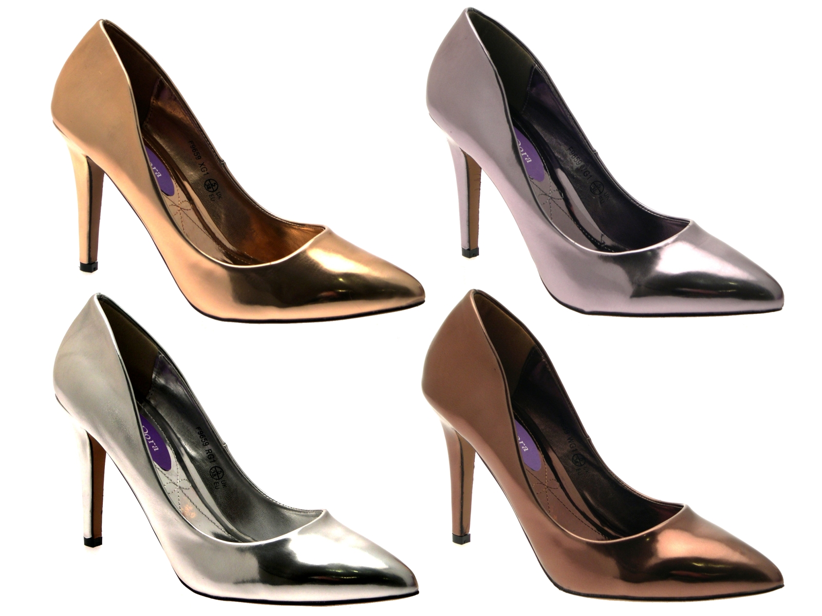 WOMENS METALLIC POINTED TOE COURT STILETTO HIGH HEELS