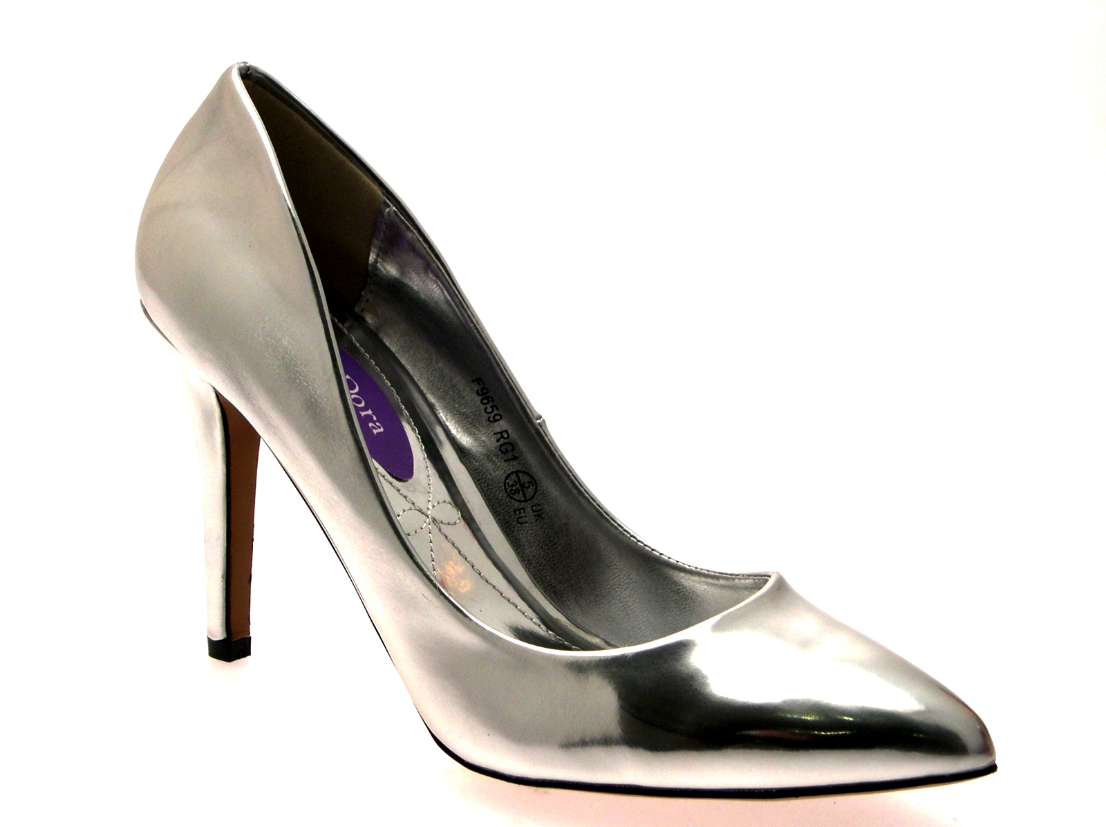 Womens-Metallic-Pointed-Toe-Court-Stiletto-High-Heels-Ladies-Work-Office-Shoes thumbnail 40