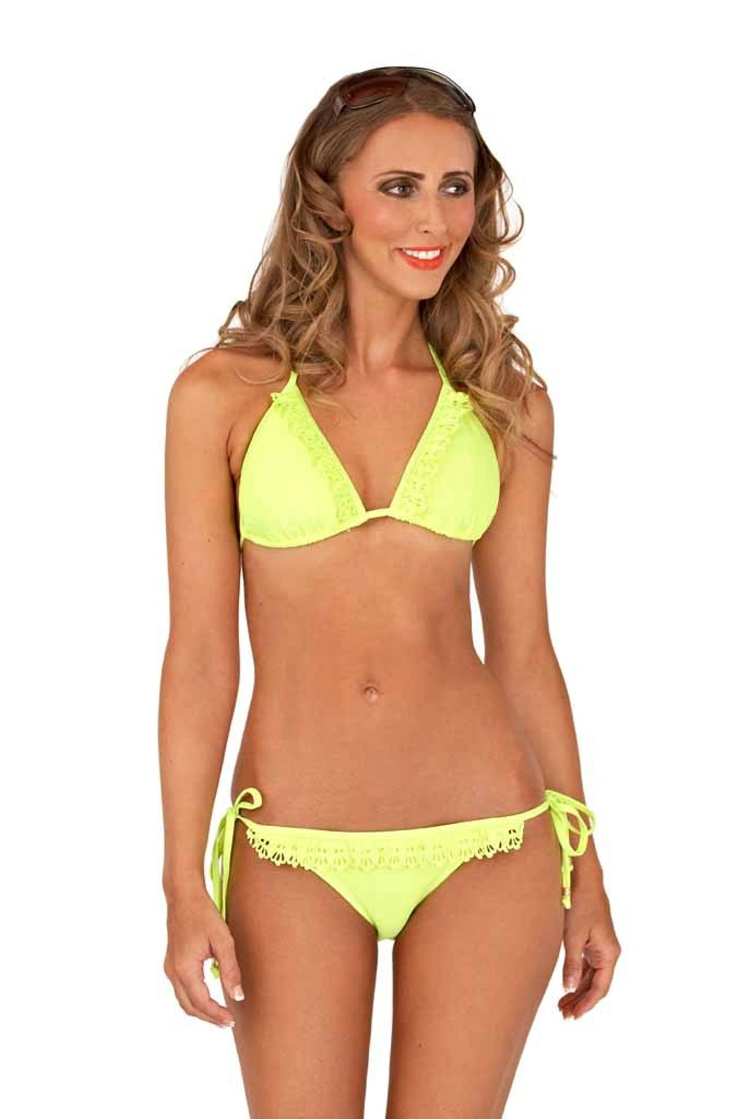 72bc3f95ff72a Womens String Neon Bikini Top + Bottoms Lace Triangle Swimwear Ladies Size  8-14