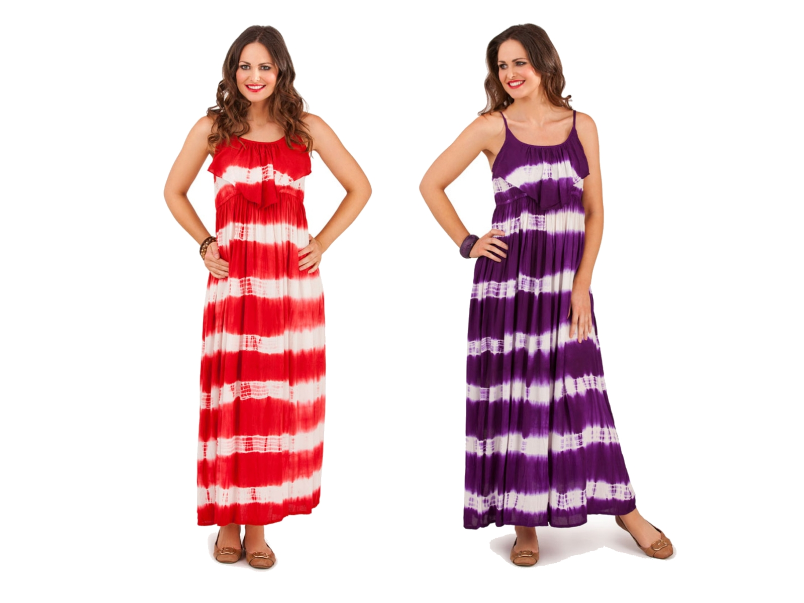 Womens Strappy Maxi Full Length Summer Dress Ladies Tie Dye Striped Size Uk 8 16 Ebay
