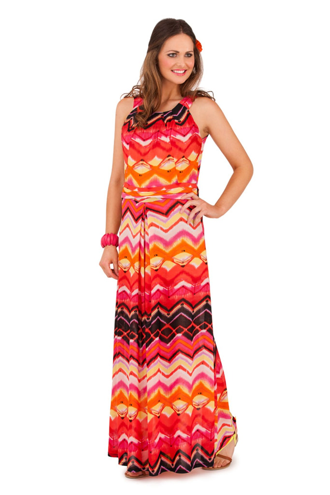 d657cb6ecd85 Womens Striped Zig Zag Strappy Maxi Full Length Summer Dress Ladies ...