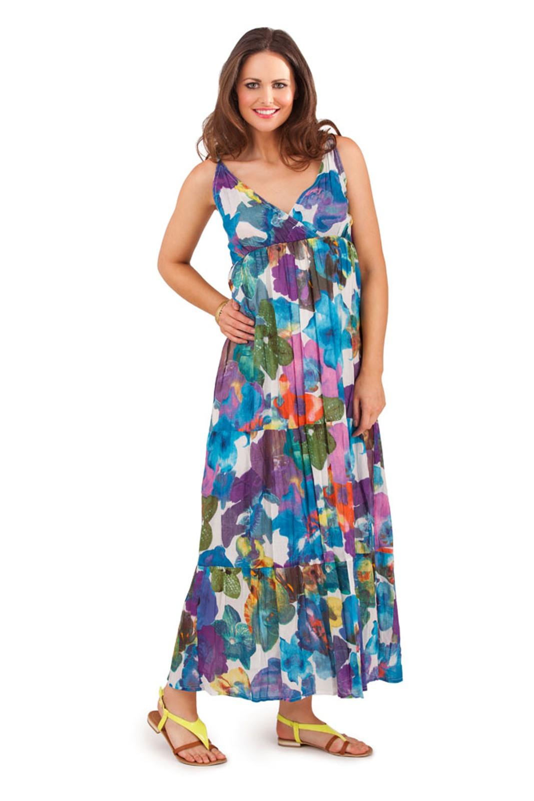 dbaf4b21456 Womens 100% Cotton Flower V Neck Maxi Full Length Summer Dress ...