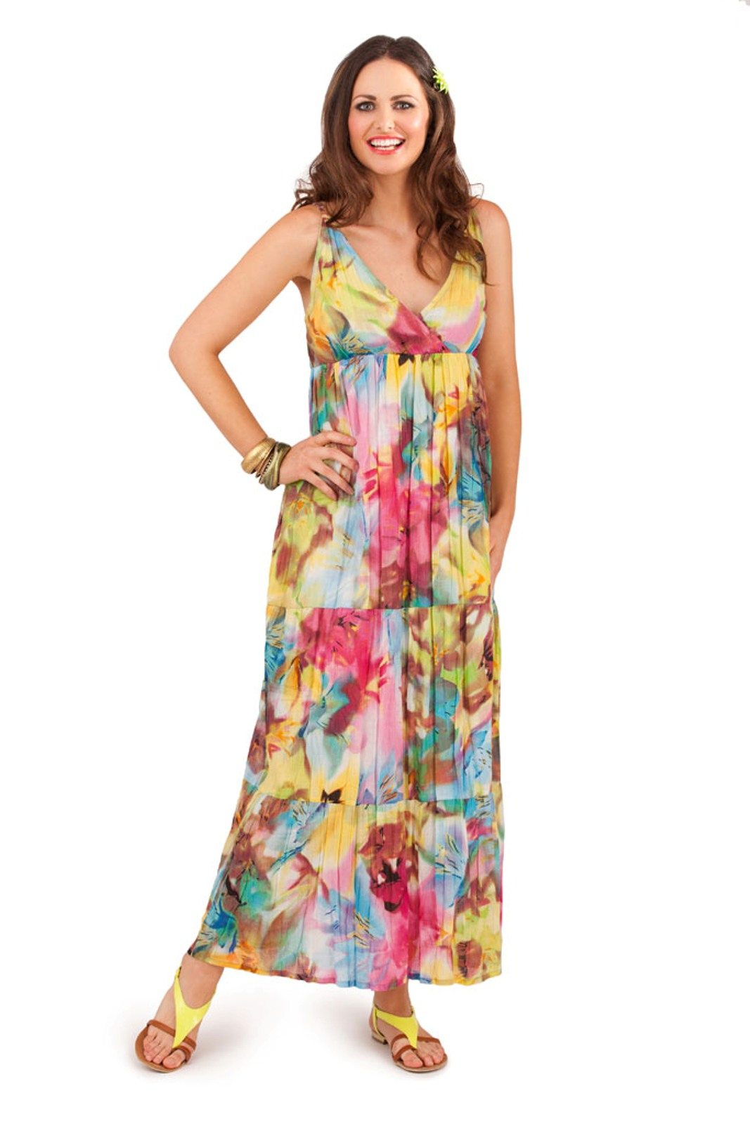 1bbc6a639c47 Womens 100% Cotton Flower V Neck Maxi Full Length Summer Dress ...