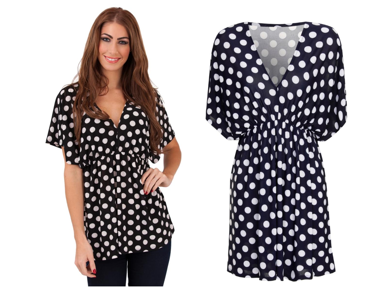 7d77699ac7c6 Womens Polka Dot V Neck Short Sleeved Blouse Stretch Summer Top Ladies UK 8- 16