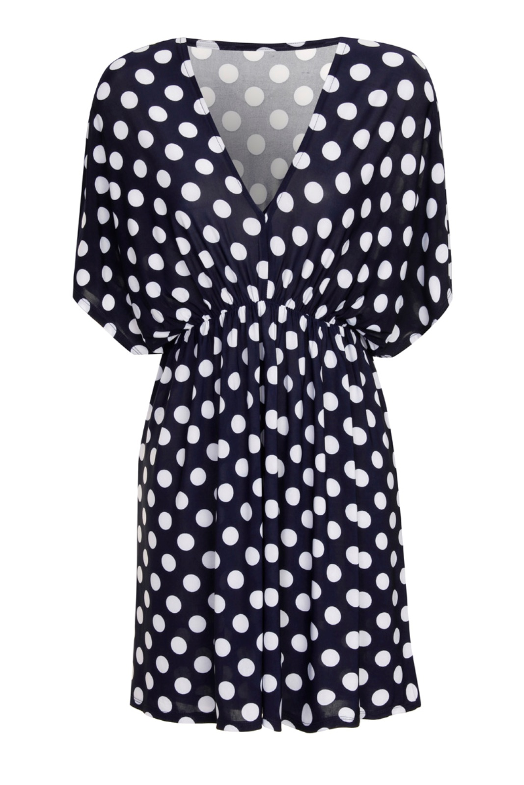 ed9b15b5b1e8 Womens Polka Dot V Neck Short Sleeved Blouse Stretch Summer Top ...