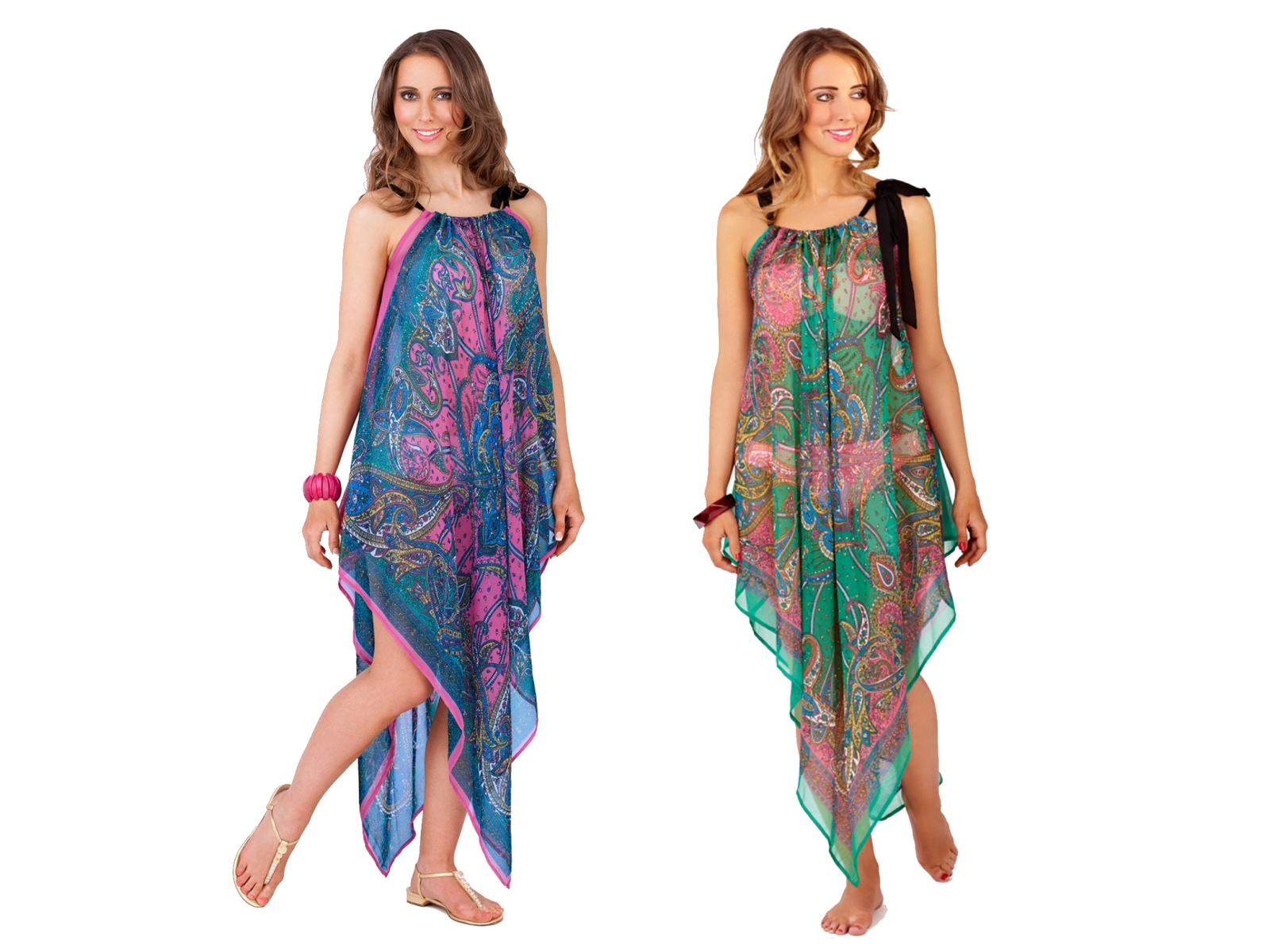 84011d4263 Womens Chiffon Kaftan Beach Cover Up Short Long Paisley Summer Dress Ladies  8-14