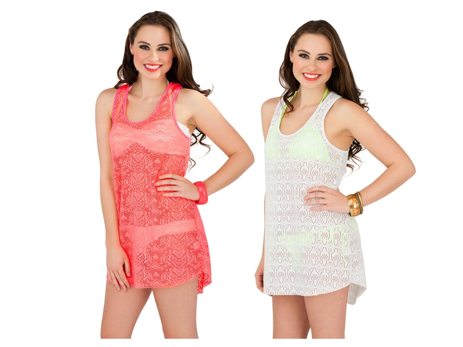 Womens Crochet Mini Dress Vest Layer Top Summer Beach Coverup Ladies Size 6-16