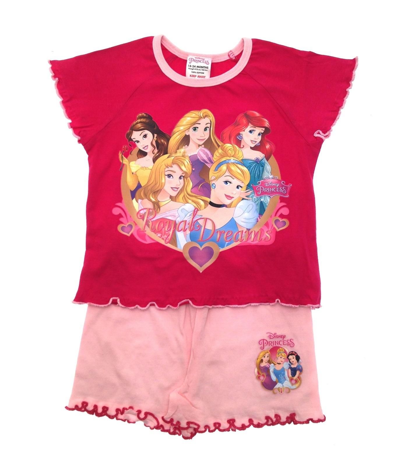 Kids Girls Official Disney Princess Short Pyjamas Character Pjs Set 2 Piece  Size 0cbce8099