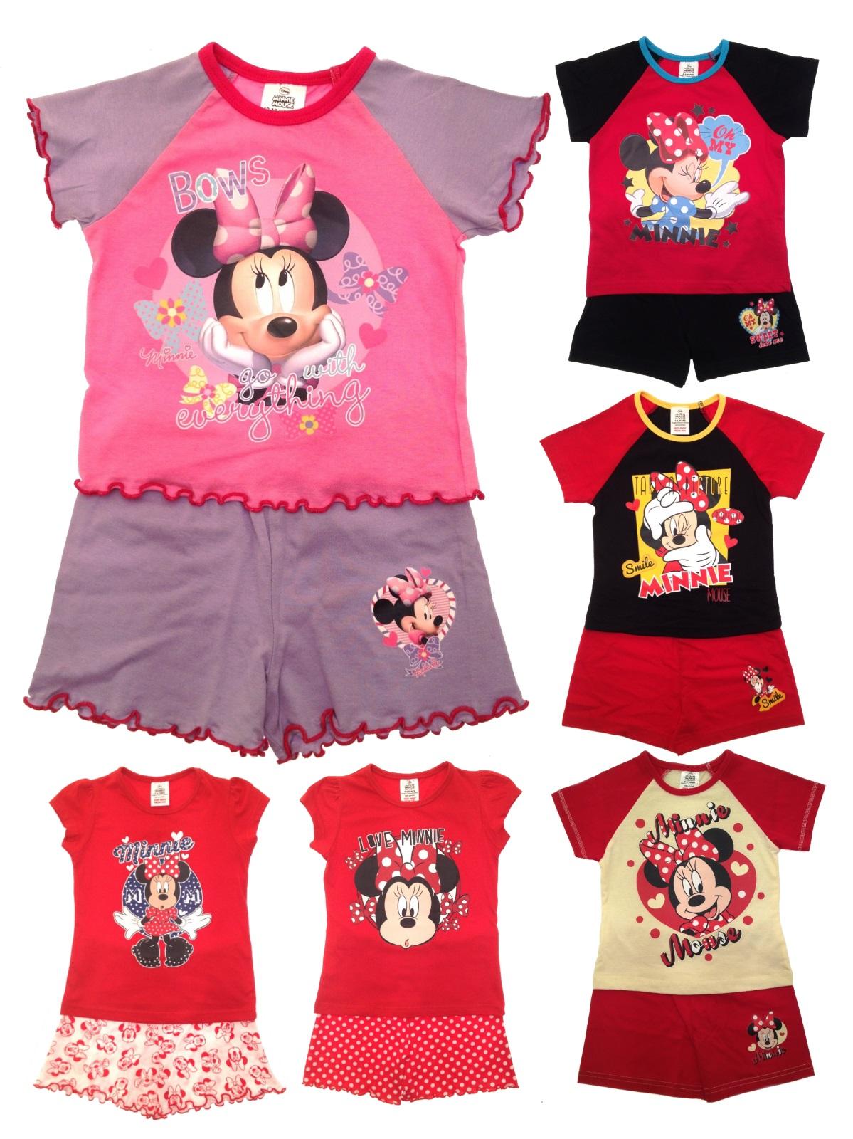 6d4cab33724f Kids Girls Official Disney Minnie Mouse Short Pyjamas Pj s Set Size ...