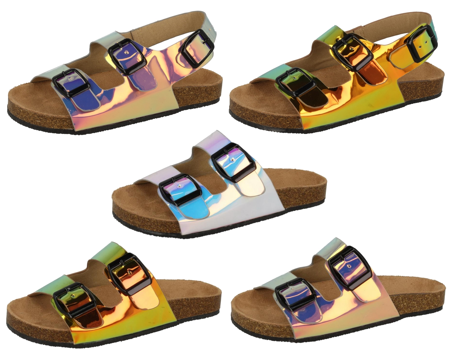 99e923059 Girls Summer Sandals Iridescent Footbed Mules Holographic Comfort Shoes Size