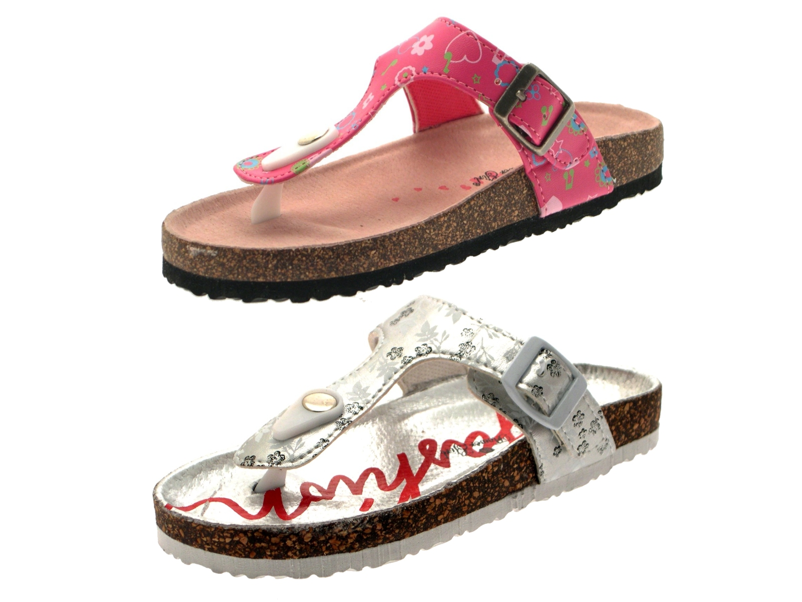 fef720699 Girls Summer Sandals Iridescent Footbed Mules Holographic Comfort ...