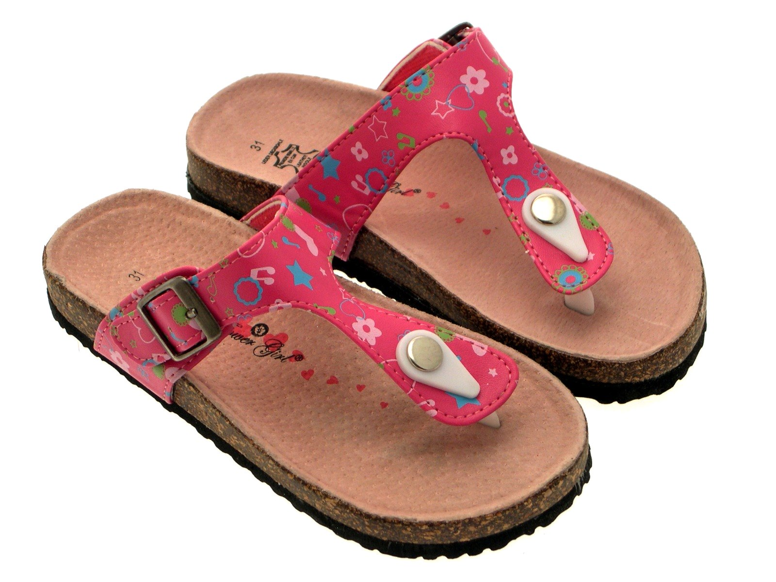 87d420ee8d4731 Girls Kids Flower Summer Sandals Toe Posts Footbed Flip Flops Mules ...