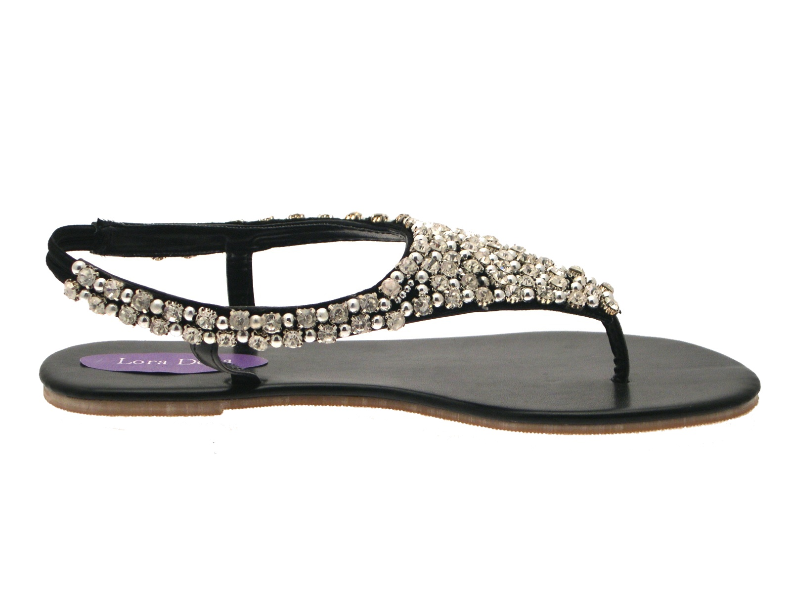 Womens Diamante Pearl Sandals Elastic Strap T Bar Thong -7371