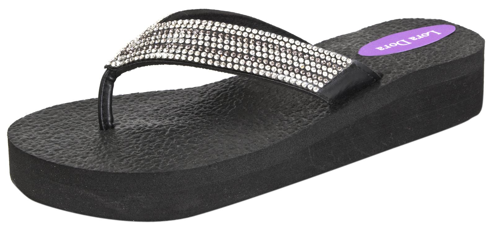 f661c03a6e8 Womens Eva Platform Sandals Diamante Flip Flops Summer Toe Posts Wedges Size