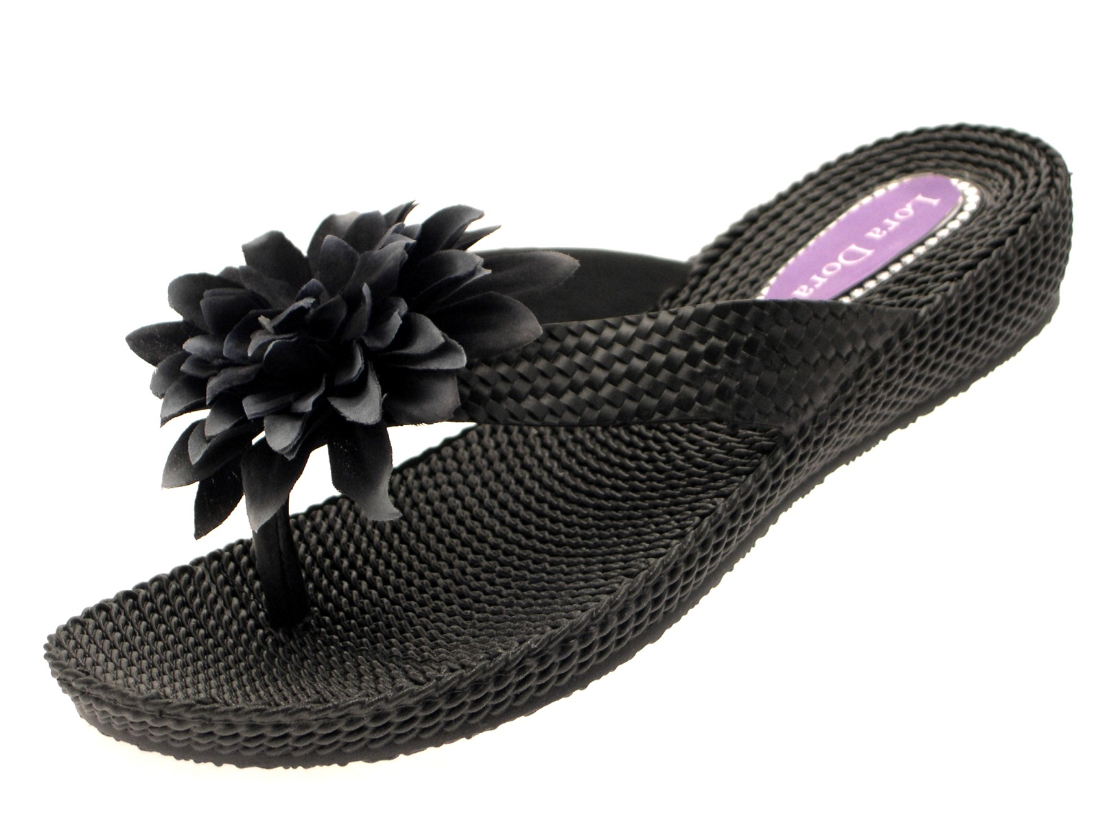 bcb78f7af07b Womens Eva Low Wedge Flip Flops Toe Posts Ladies Summer Beach ...