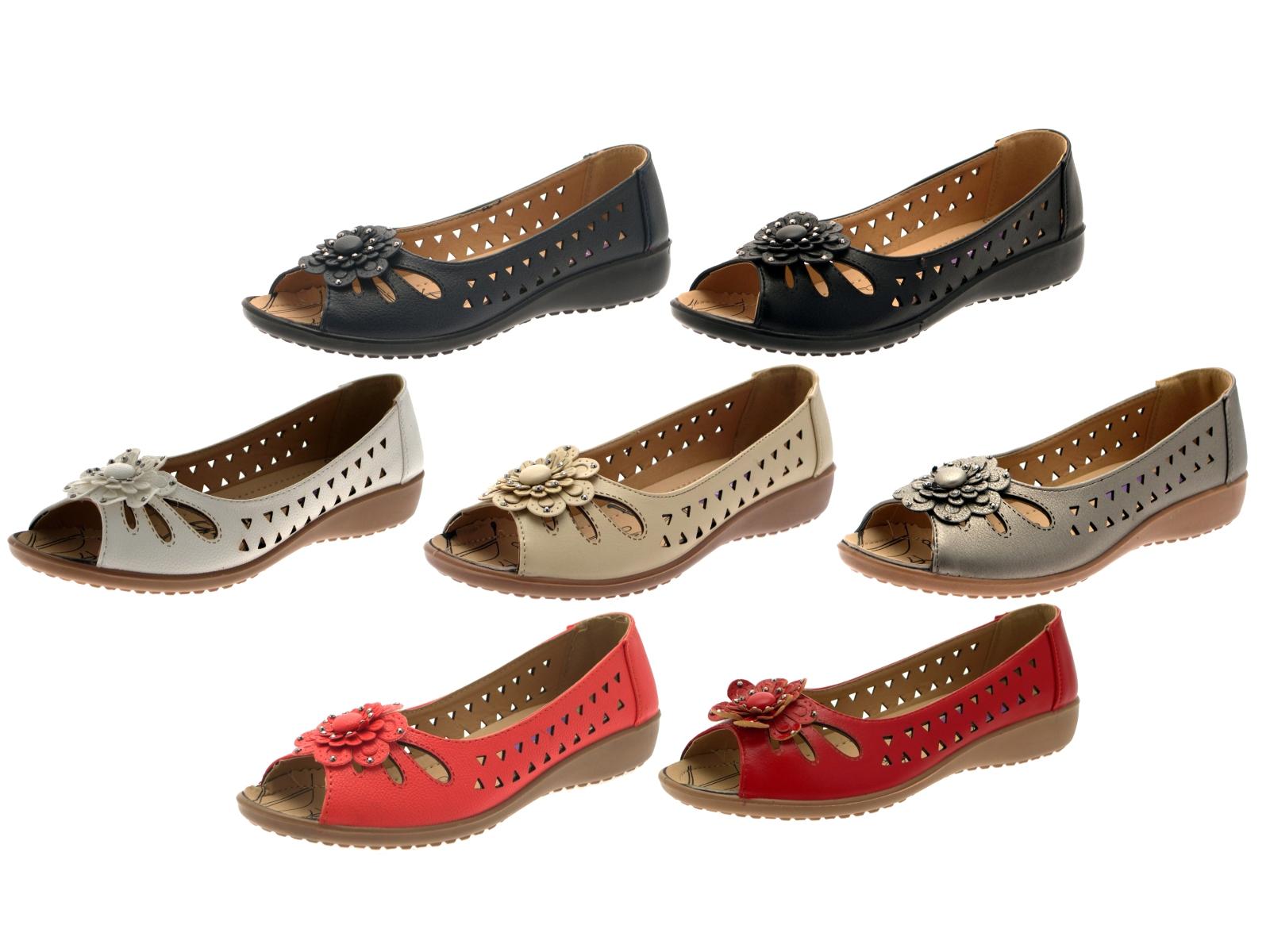 4b42c5a7eabac Womens Faux Leather Comfort Cut Out Flat Shoes Flower Sandals Ladies ...