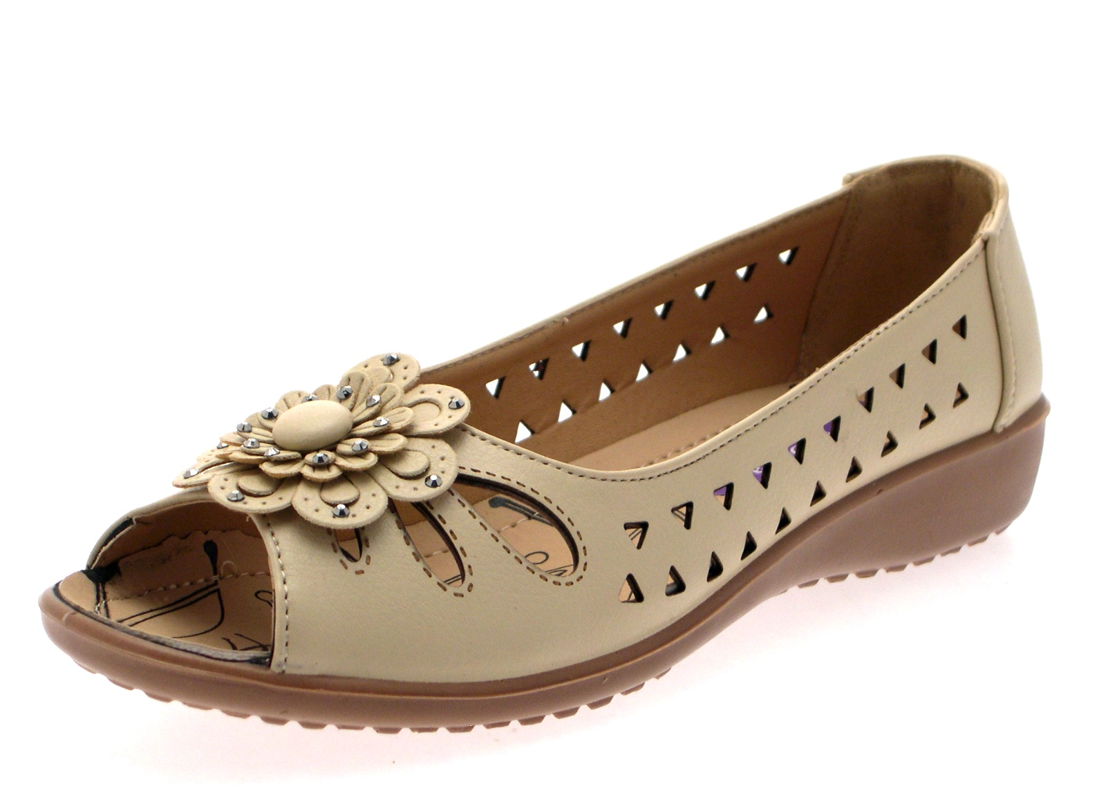3abe1e13831 Womens Faux Leather Comfort Cut Out Flat Shoes Flower Sandals Ladies ...