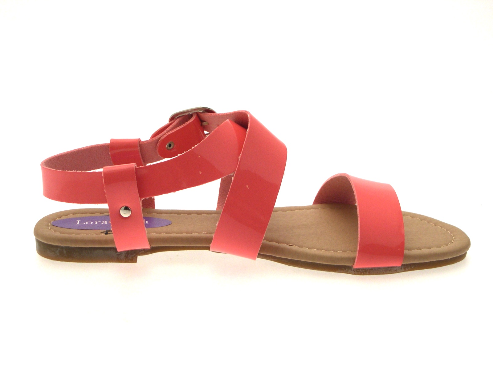 be1ce092188 Womens Patent Flat Strappy Sandals Ladies Summer Buckle Open Shoes ...