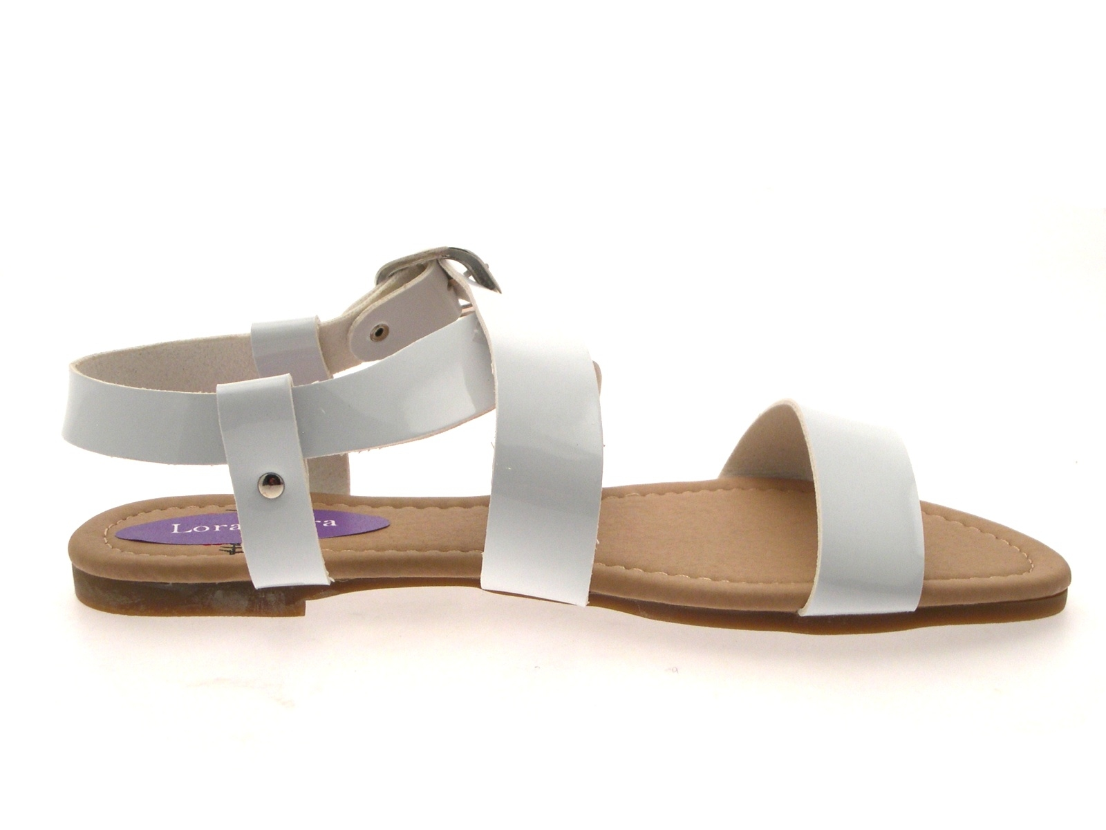 Womens Patent Flat Strappy Sandals