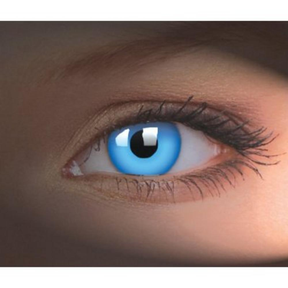crazy lens coloured fashion contact lenses  u0026 case - uv glow blue  yearly  contact lenses