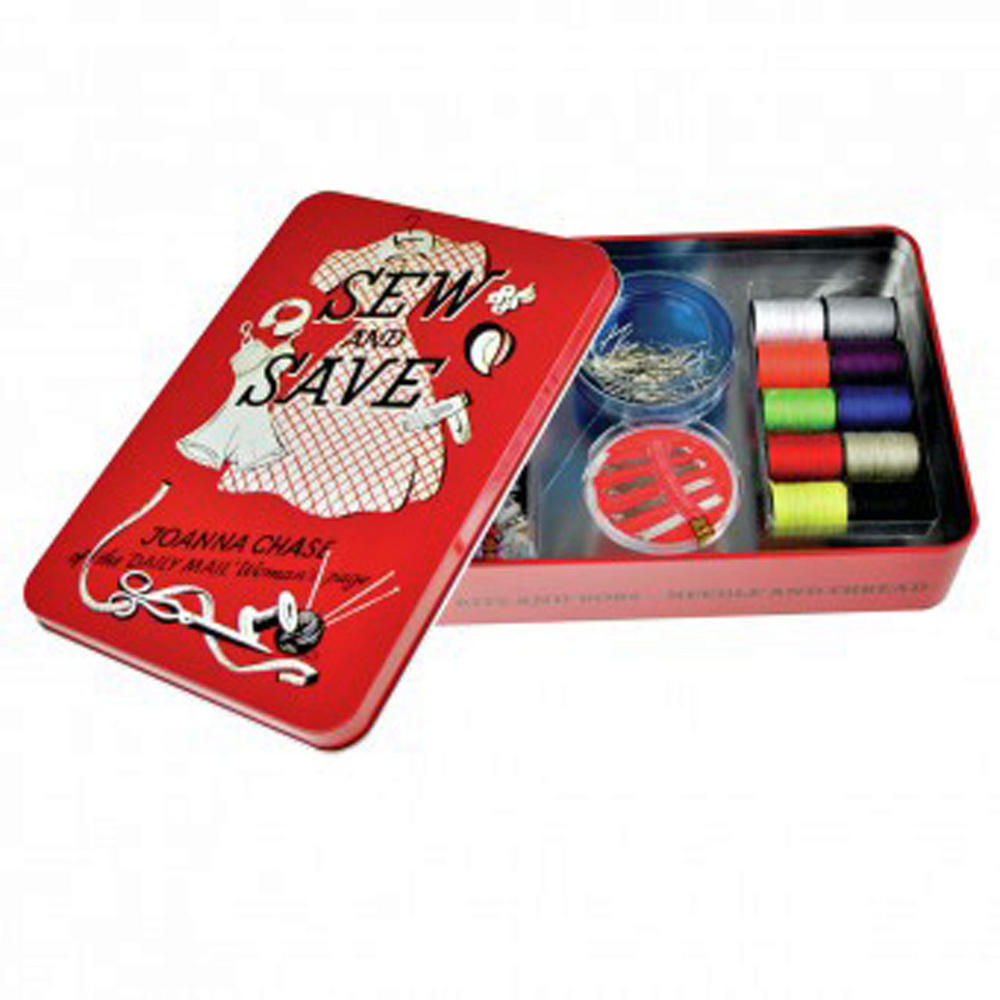 sewing kit gift set joanna chase sew and save clothes repair tin threads box