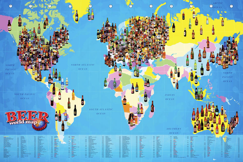 World map beer maxi poster 61 cm x 915 cm348 maxi poster thumbnail 1 gumiabroncs Images