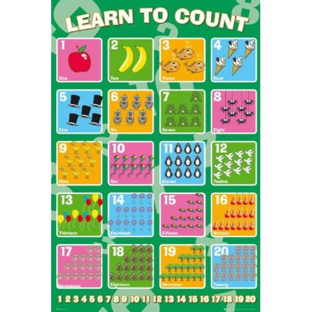 educational counting maxi poster 61 cm x 91 5 cm 407 61cm x 24 x 36 inches. Black Bedroom Furniture Sets. Home Design Ideas