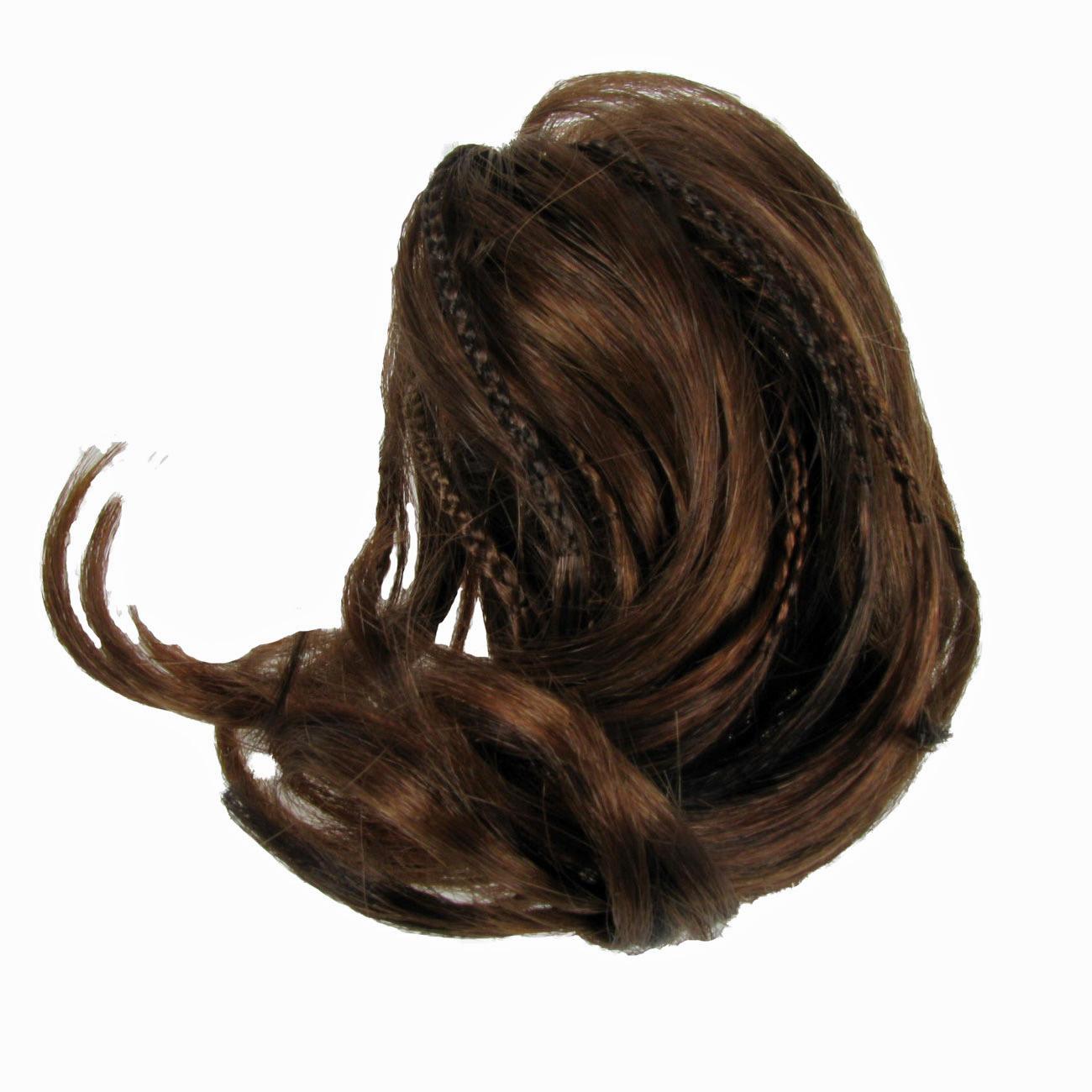 Hair Piece Extension Bun Auburn Synthetic Elasticated Band Curly