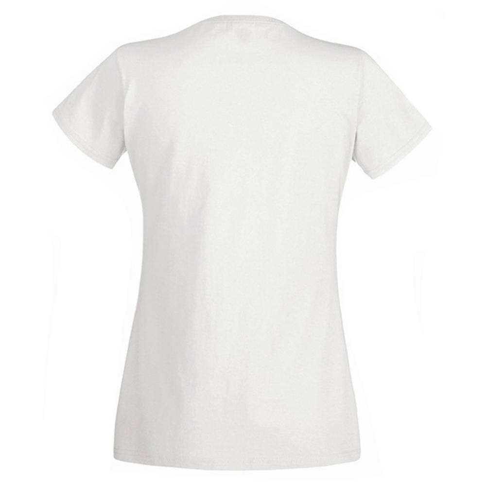Womens t shirt fruit of the loom ladyfit plain cotton v for How to get makeup out of white shirt