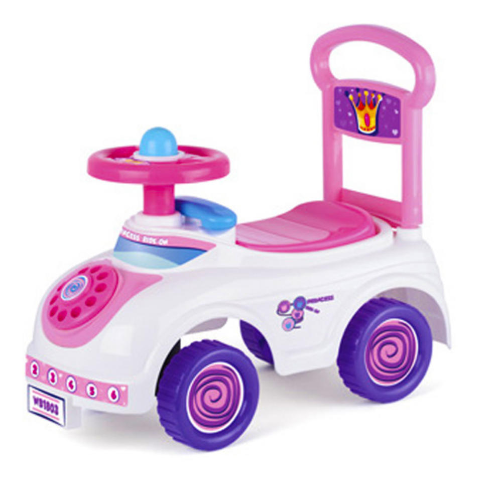 toyrific ride on push along kids princess pink and white girls car ride on cars pink urban. Black Bedroom Furniture Sets. Home Design Ideas
