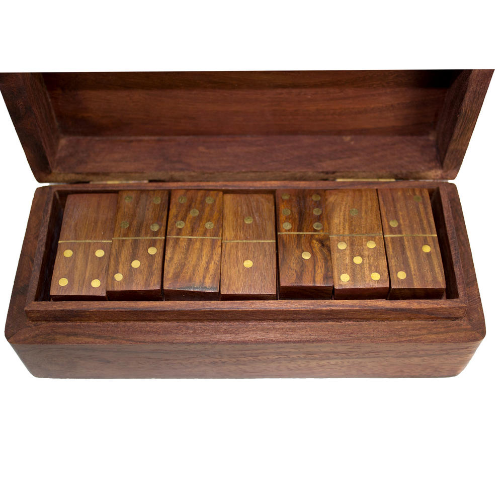 View Item Dominoes Set Wooden Vintage Box Game Travel Domino Traditional 28pc Urban Home