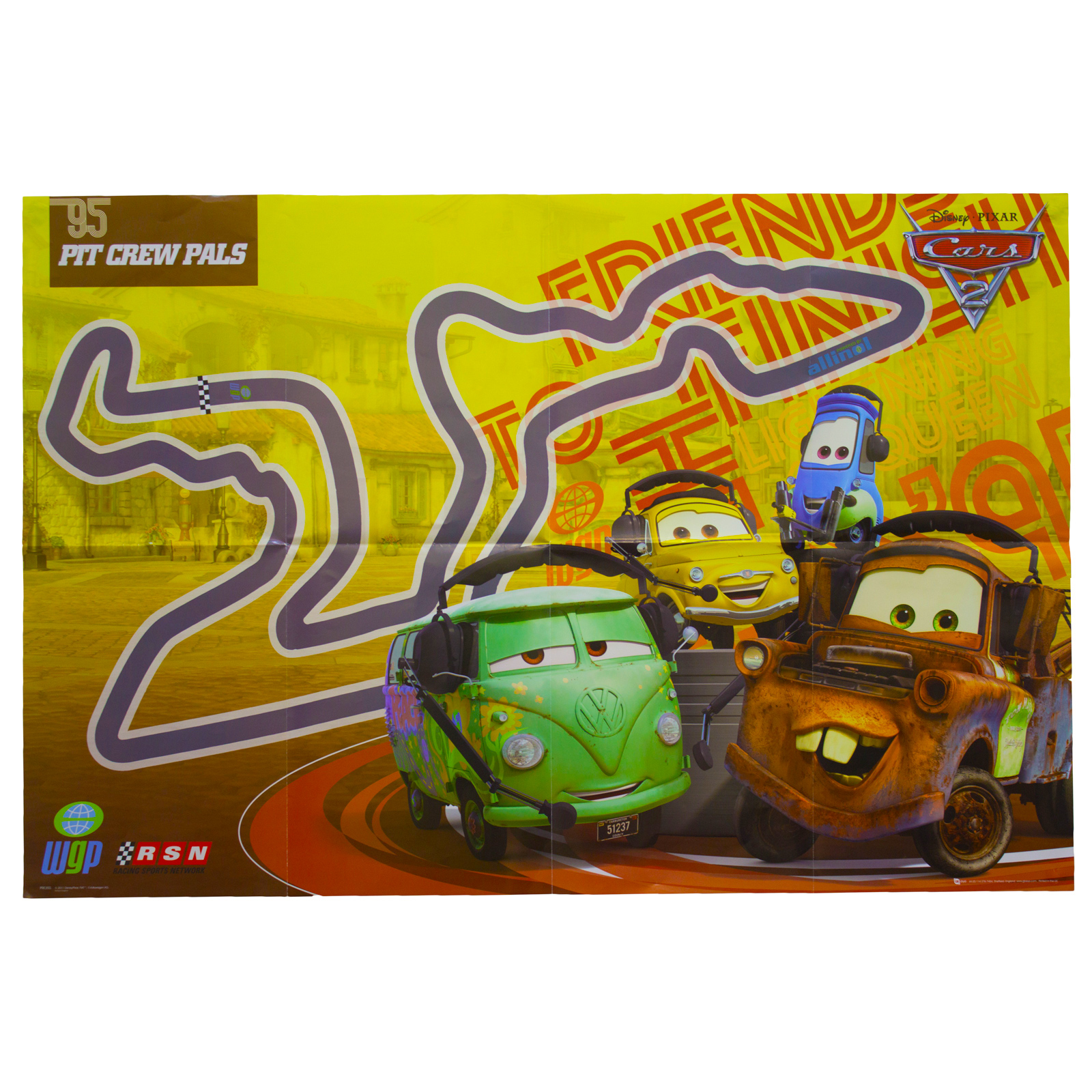 Disney Cars 2 Poster Kids Wall Art Pack Film Characters Racing Pit ...