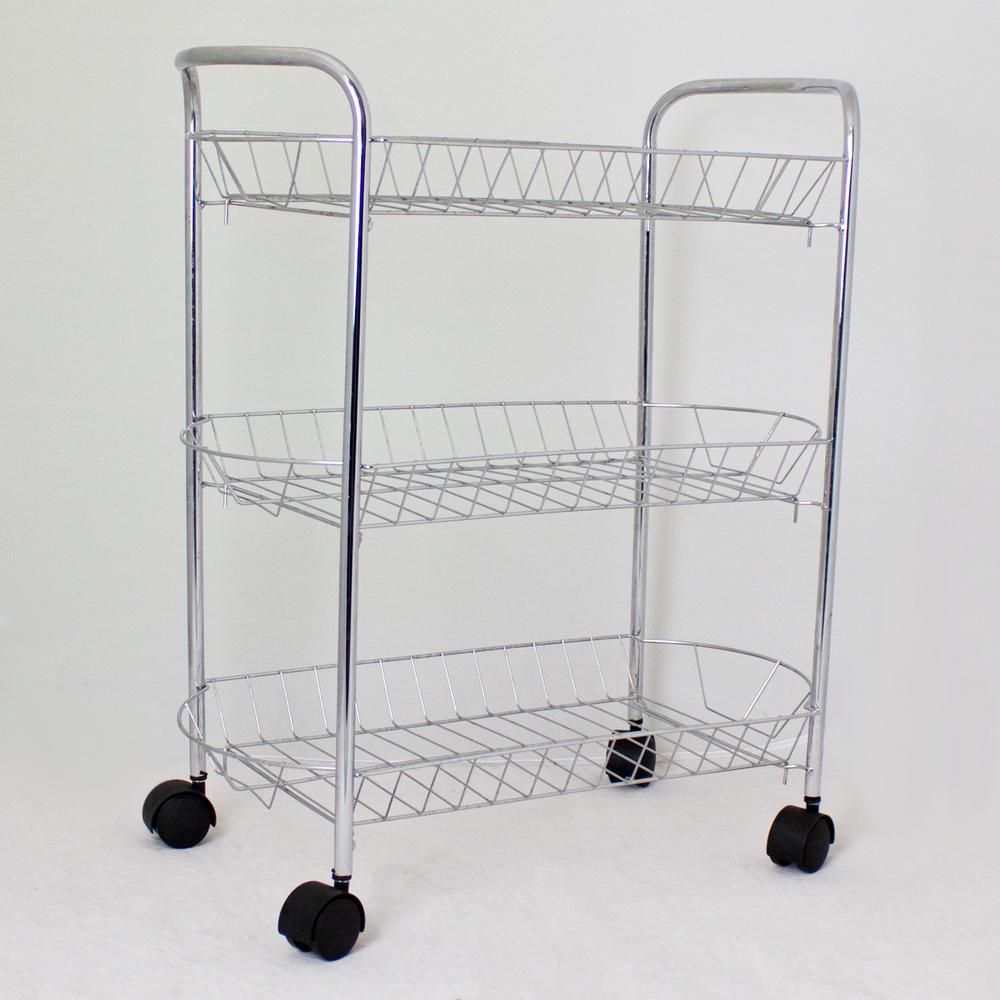 Urban Metal Kitchen Cart: Urban Home Metal Multi Storage Kitchen Chrome 3 Tier