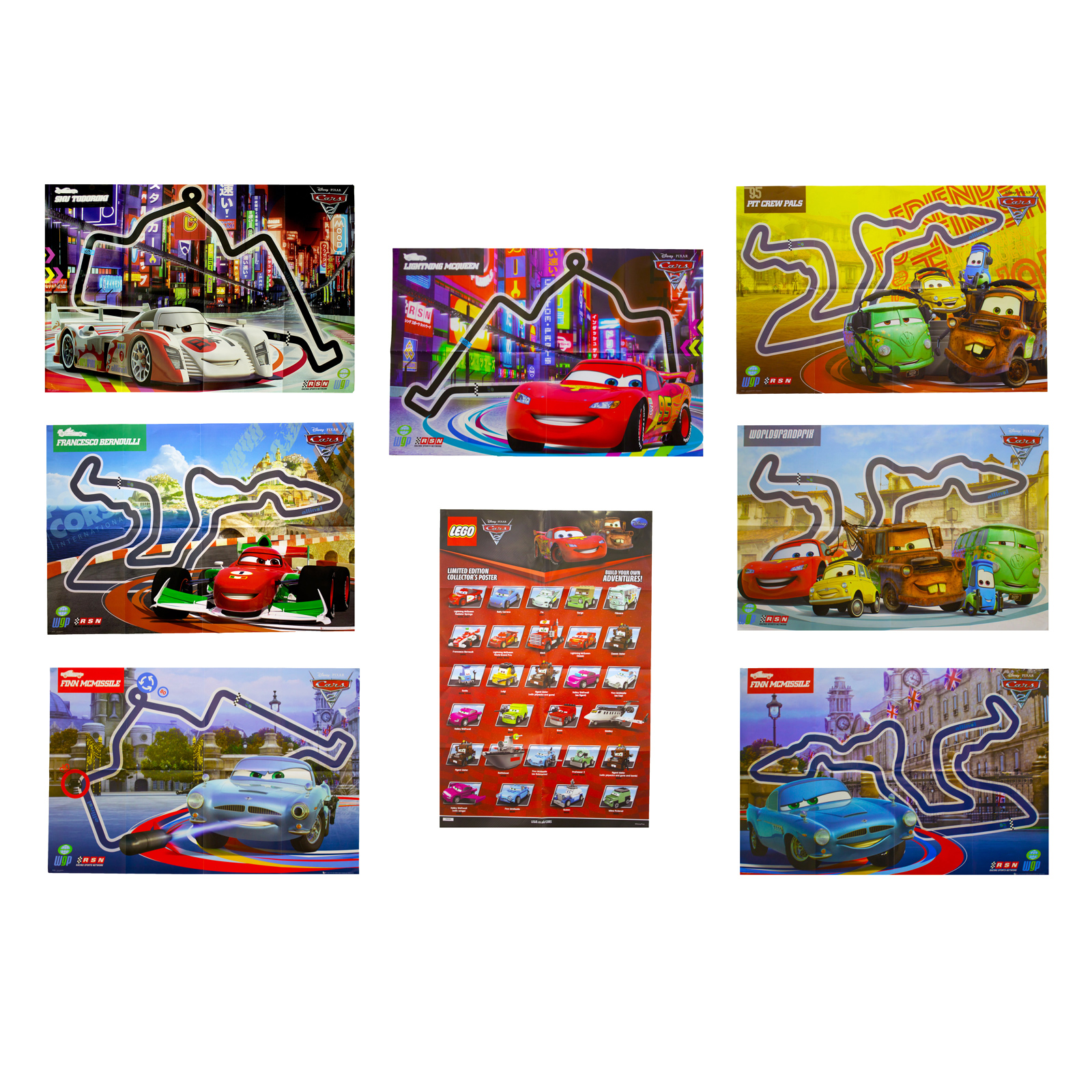 Disney Cars 2 Poster Kids Wall Art Pack Film Characters Racing Lego Pack Of 8 Ebay
