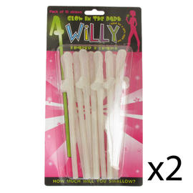 Novelty Willy Shaped Straws Diabolical Hen Night Joke Prank Gift Idea Pack of 20 Preview